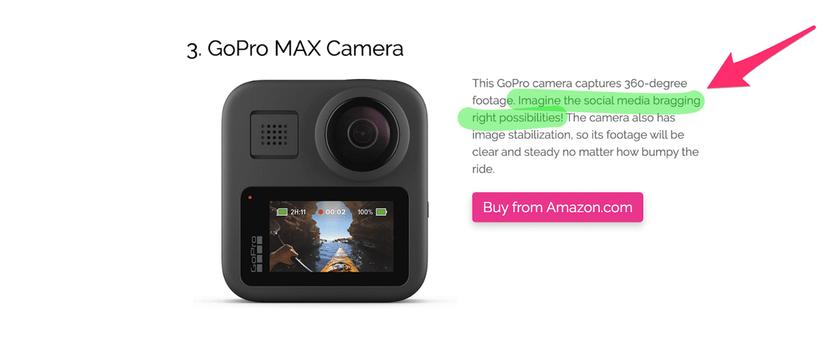 future pacing in this marketing copy with the word imagine for a camera