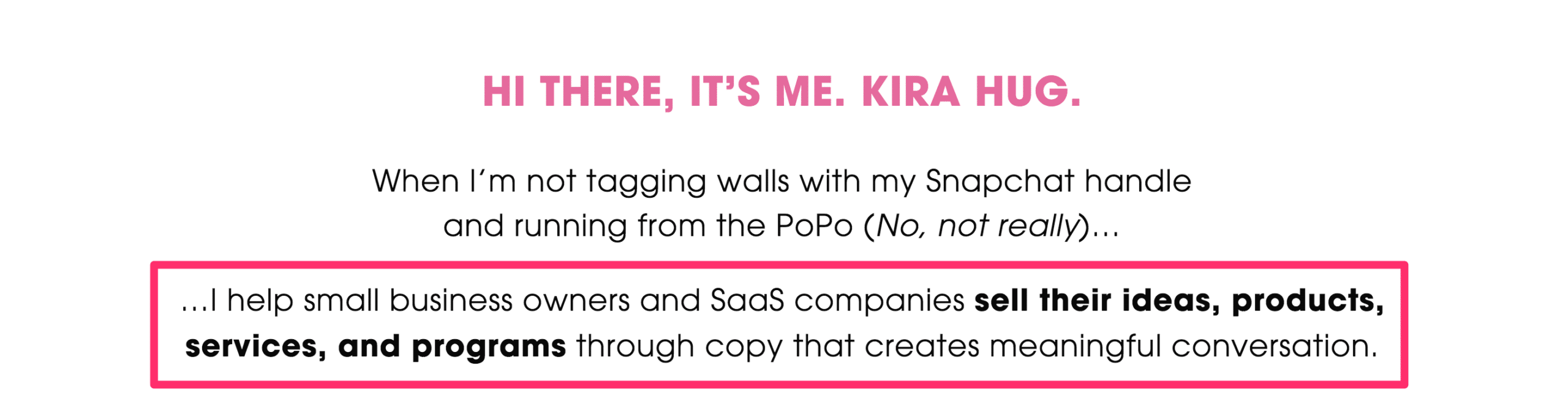 freelance copywriter example from conversion copywriter kira hug's about page