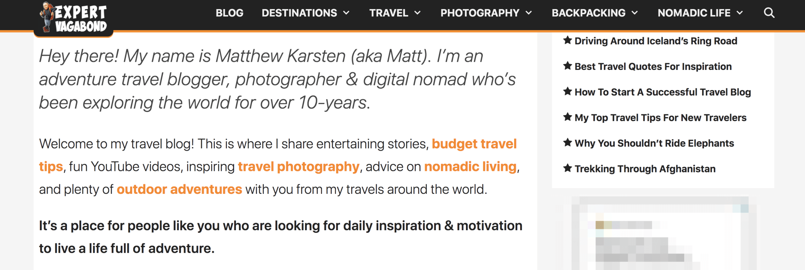 expert vagabond travel blogger bio example