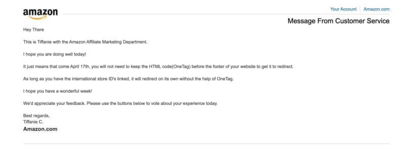 Amazon Associates Customer Service Email About OneLink