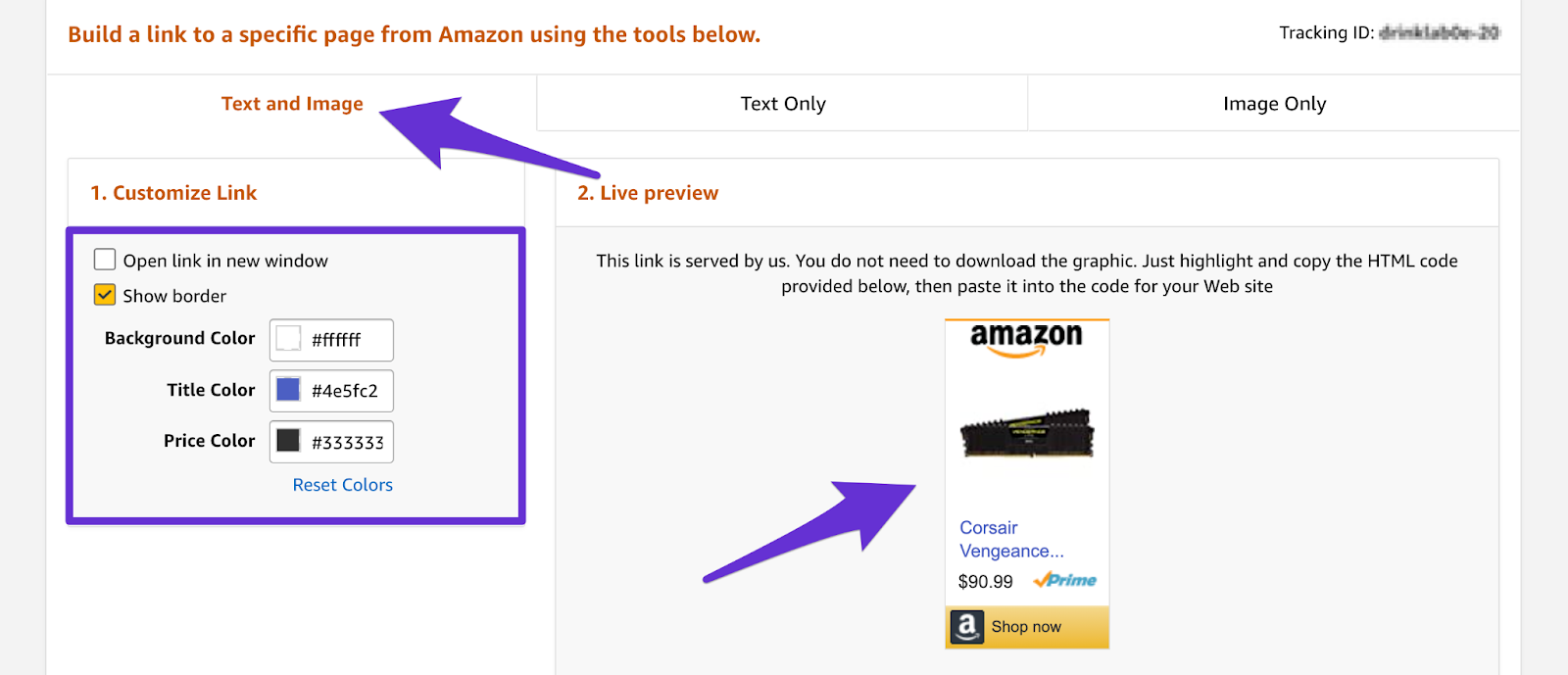 adding a text and image affiliate link inside your amazon affiliate account