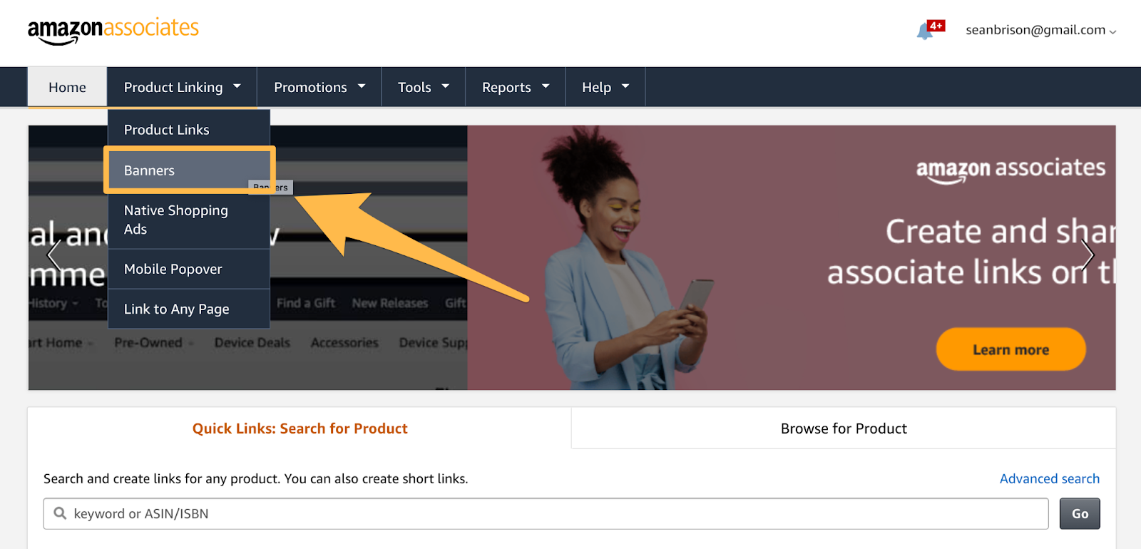 navigating to banner links in your amazon affiliate dashboard