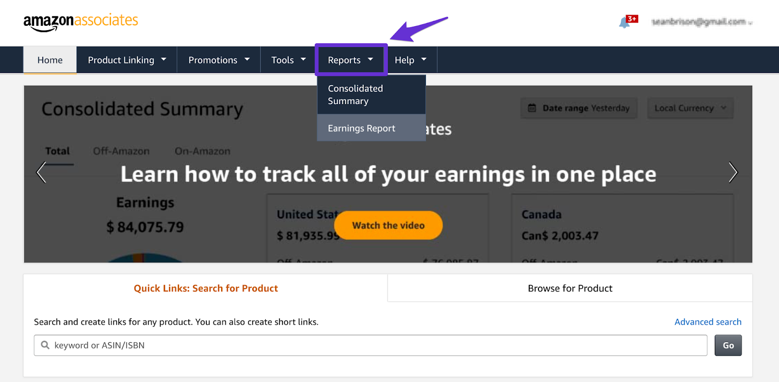 finding your earnings report inside your associates account