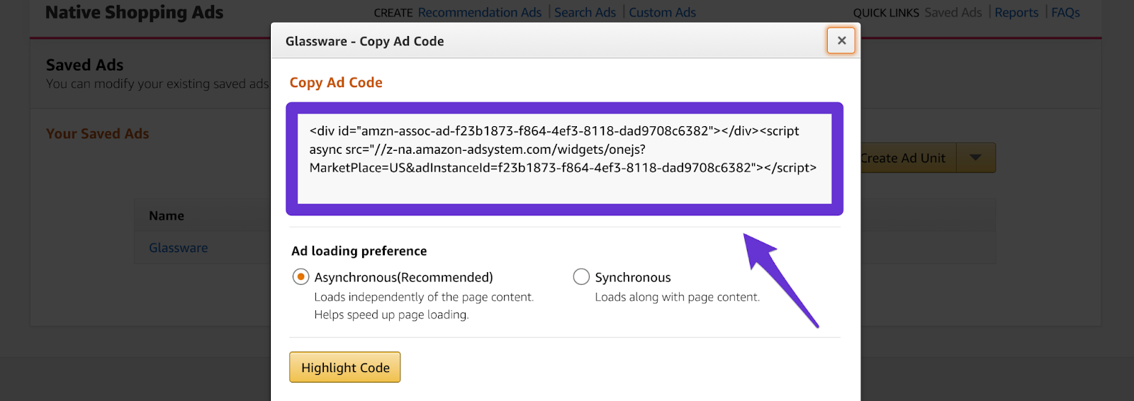 amazon affiliate ad code to include in your website
