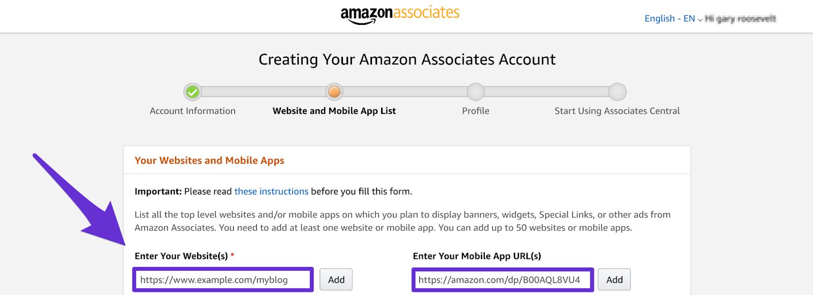 adding your website url to amazon