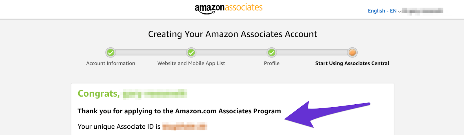 congrats page from creating amazon affiliate account