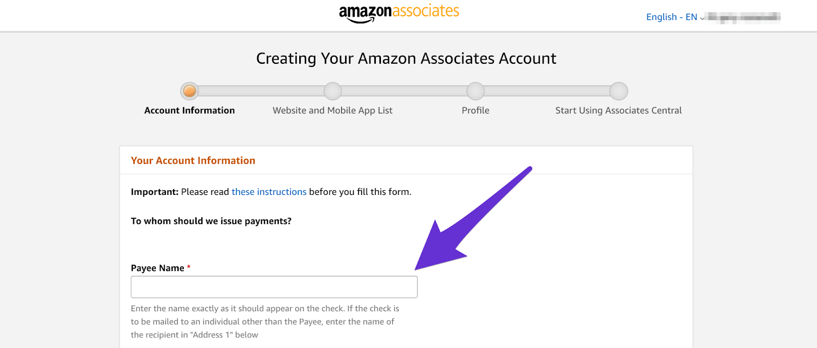 creating your amazon affiliate account starting with your name