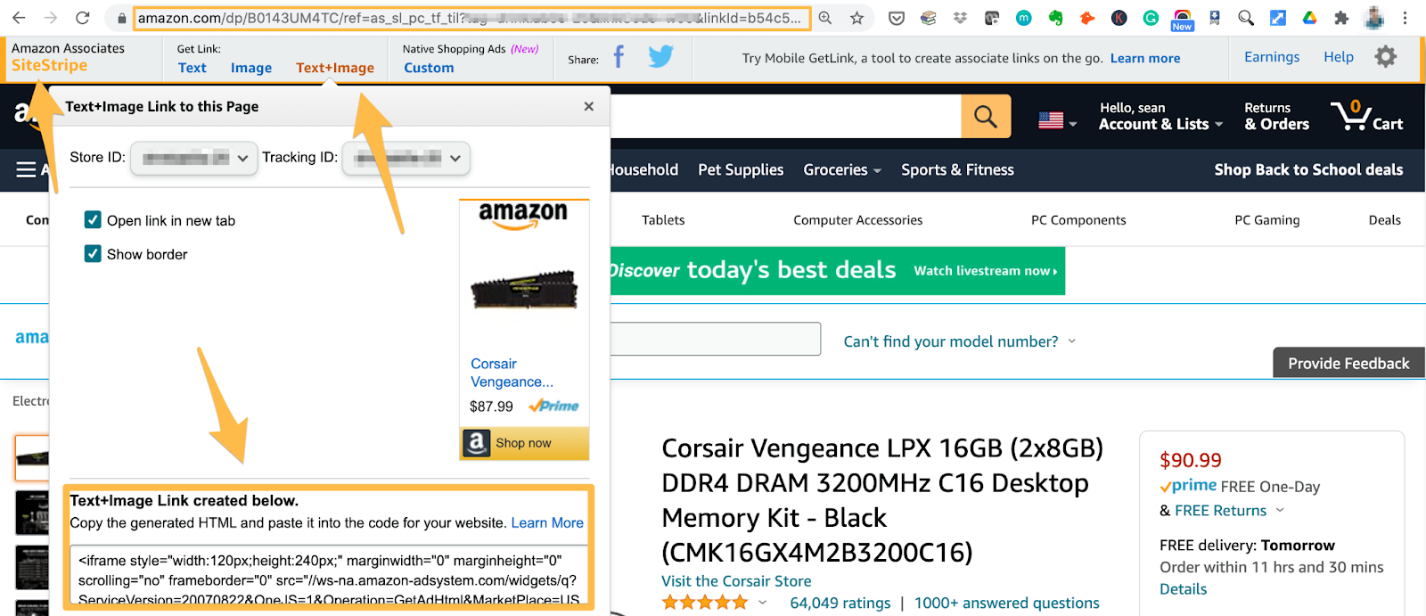 using site stripe to get your amazon link