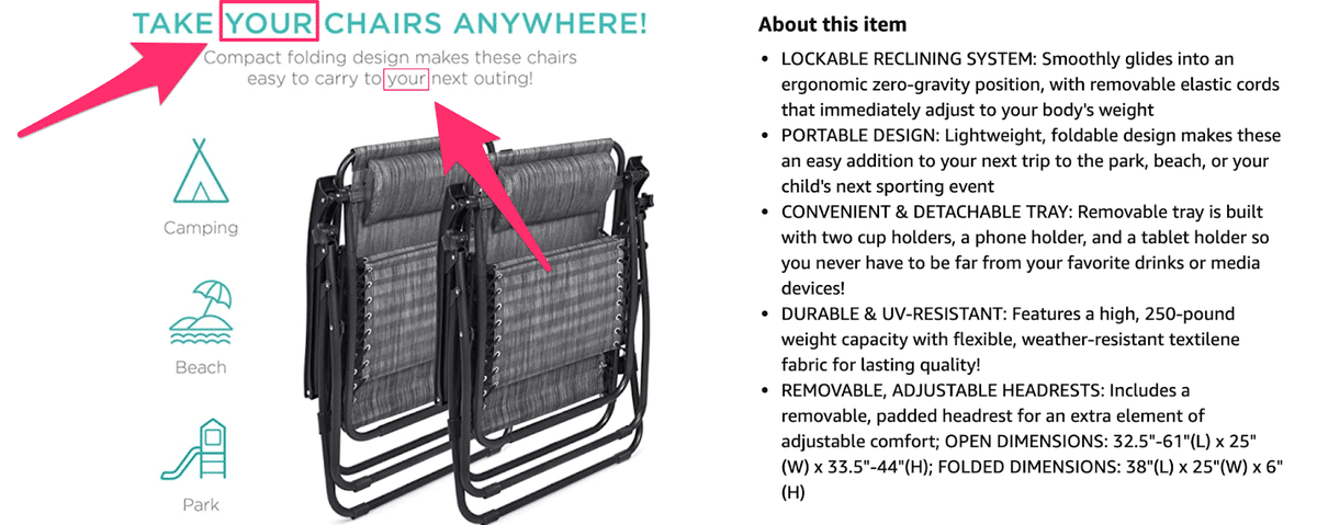 folding chair product description using the word your