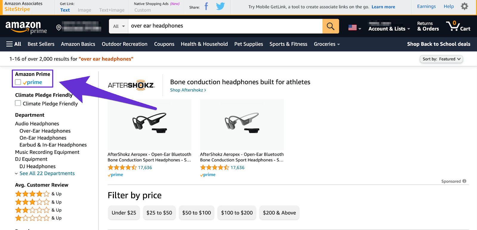 amazon affiliate filtering search by whether product is available on prime