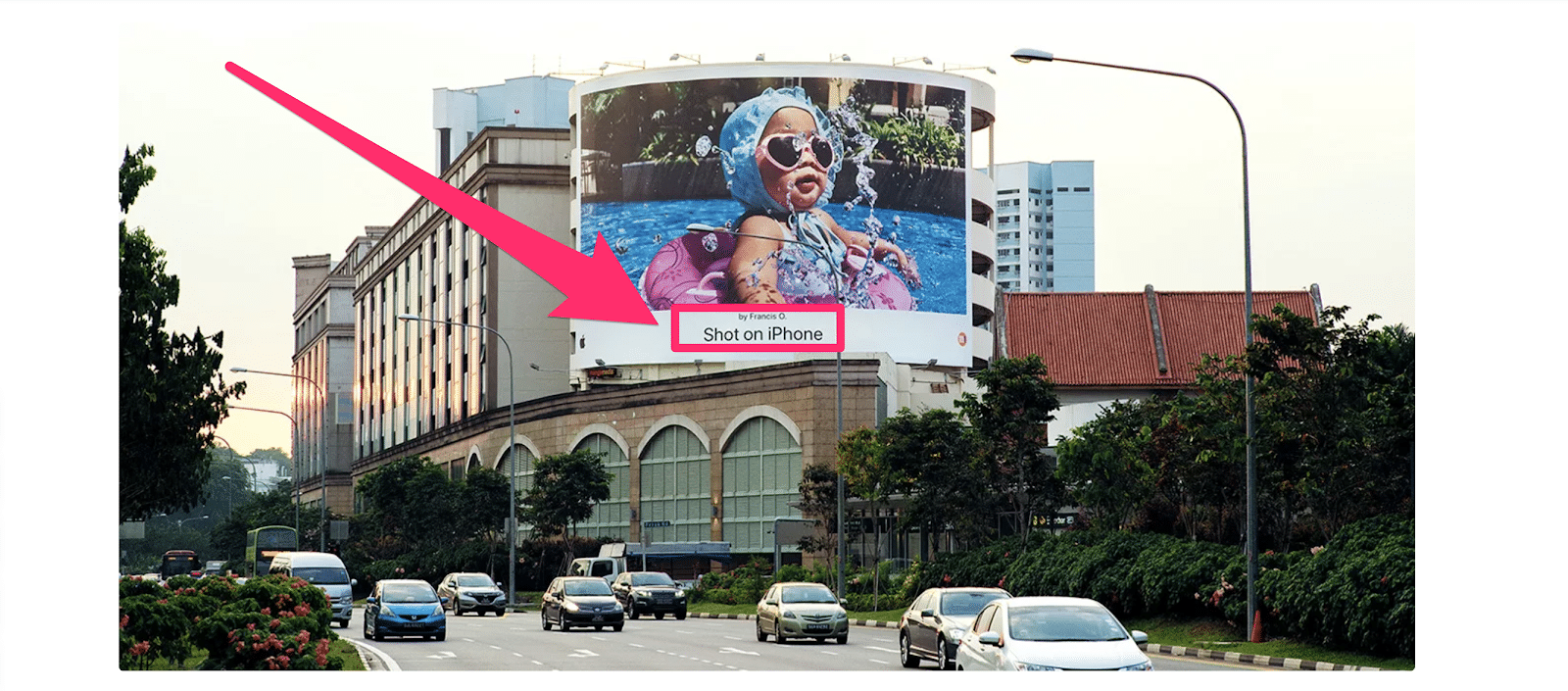 billboard display featuring apples shot on iphone campaign