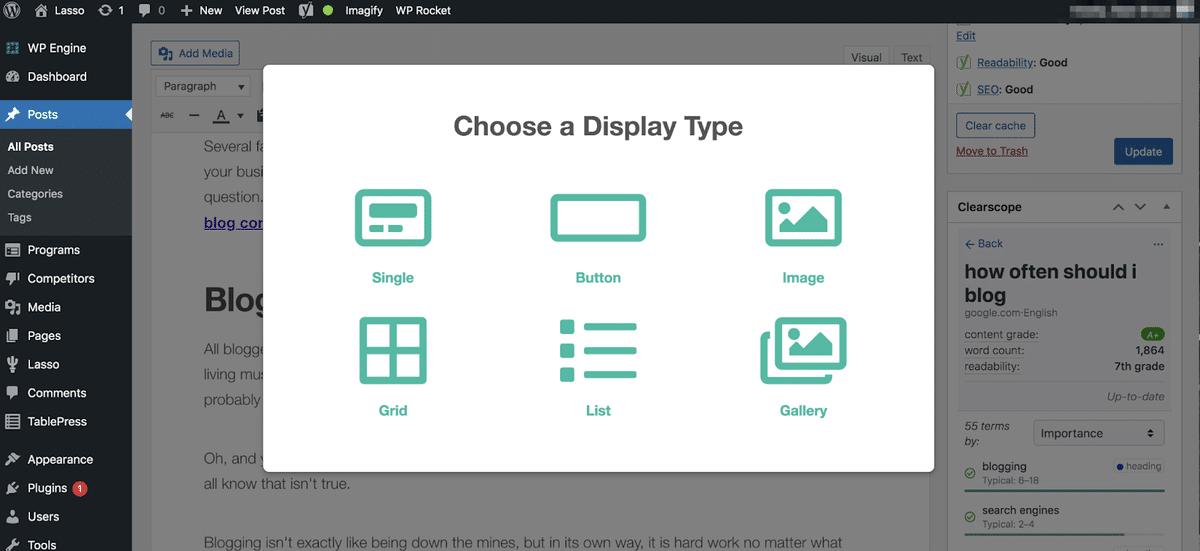 choosing a lasso display from inside wordpress text editor