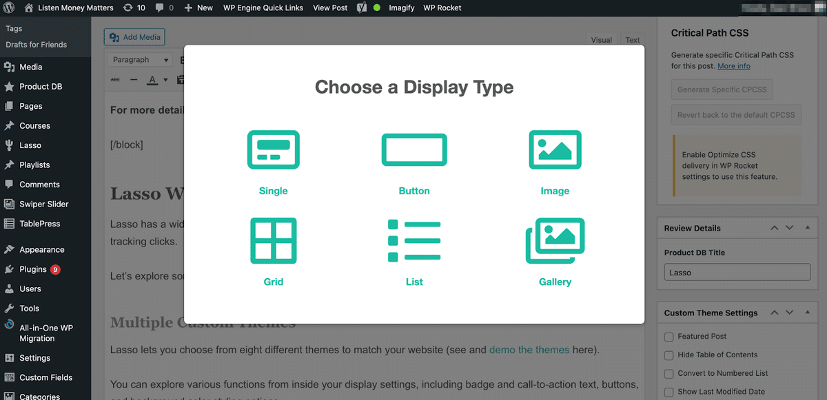choosing a lasso display type from six options