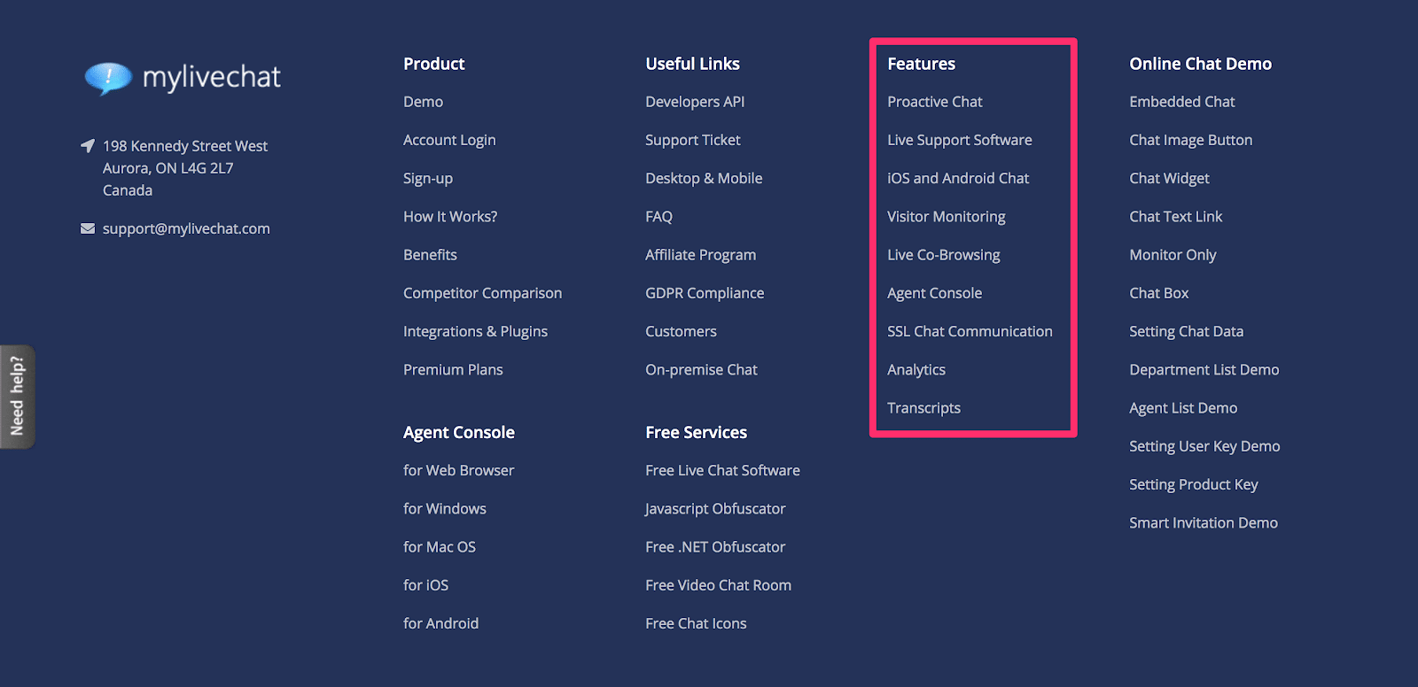 fat footer with all features displayed like previous example in the header