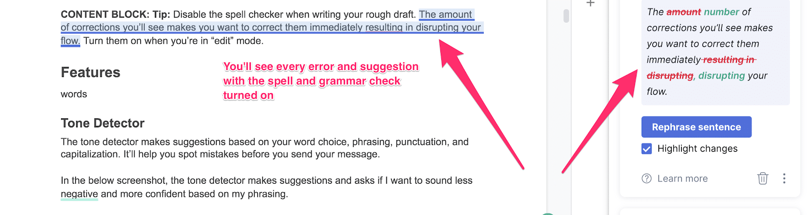 displaying how grammarly makes suggestions in your doc when writing