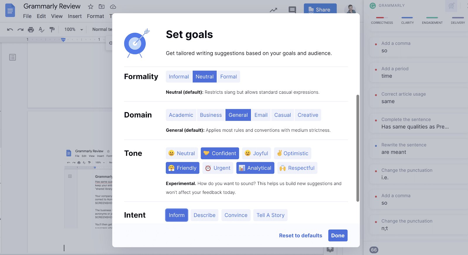 displaying all of the goal types you can set