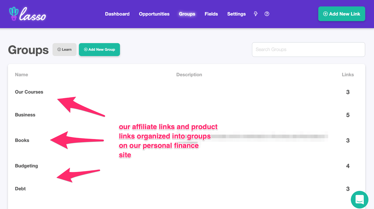 lasso grouping affiliate links