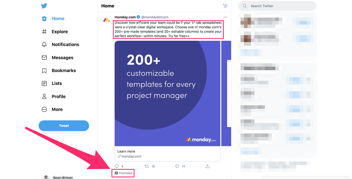 locating a paid ad when scrolling through twitter
