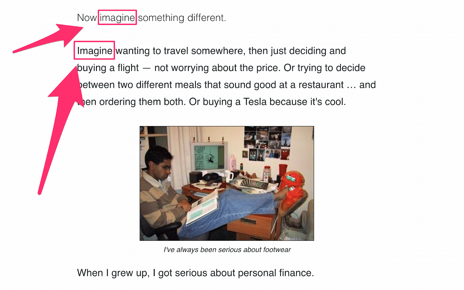 ramit using the word imagine multiple times in his sales copy