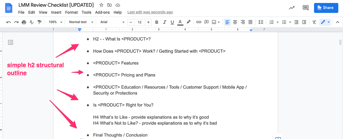 outline of product review google doc