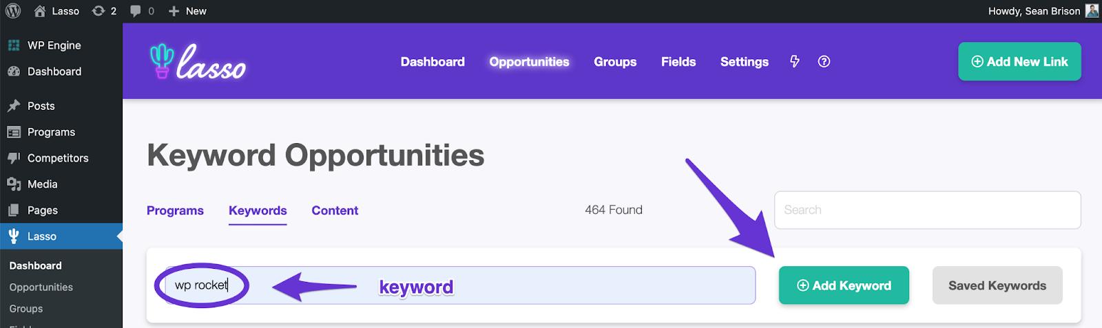 adding a keyword to lasso