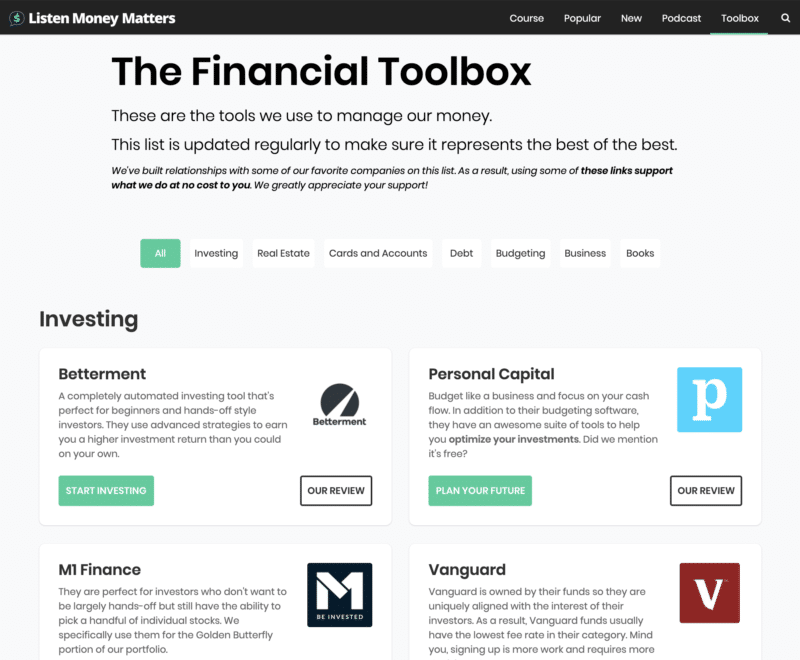Listen Money Matters Toolbox