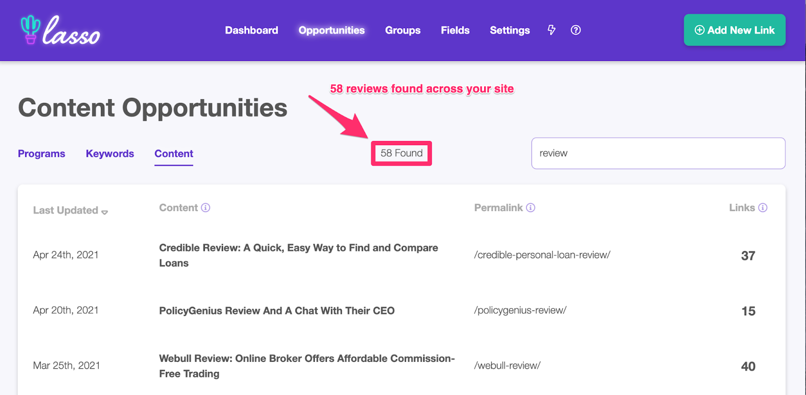 58 content opportunities found with the word review displayed in the title