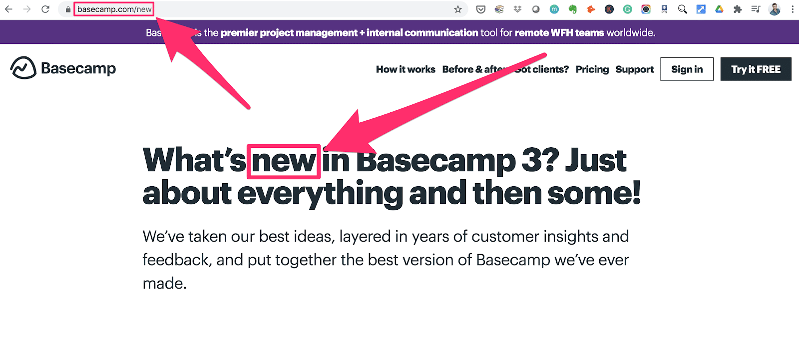 basecamp has a products page with the url slug new