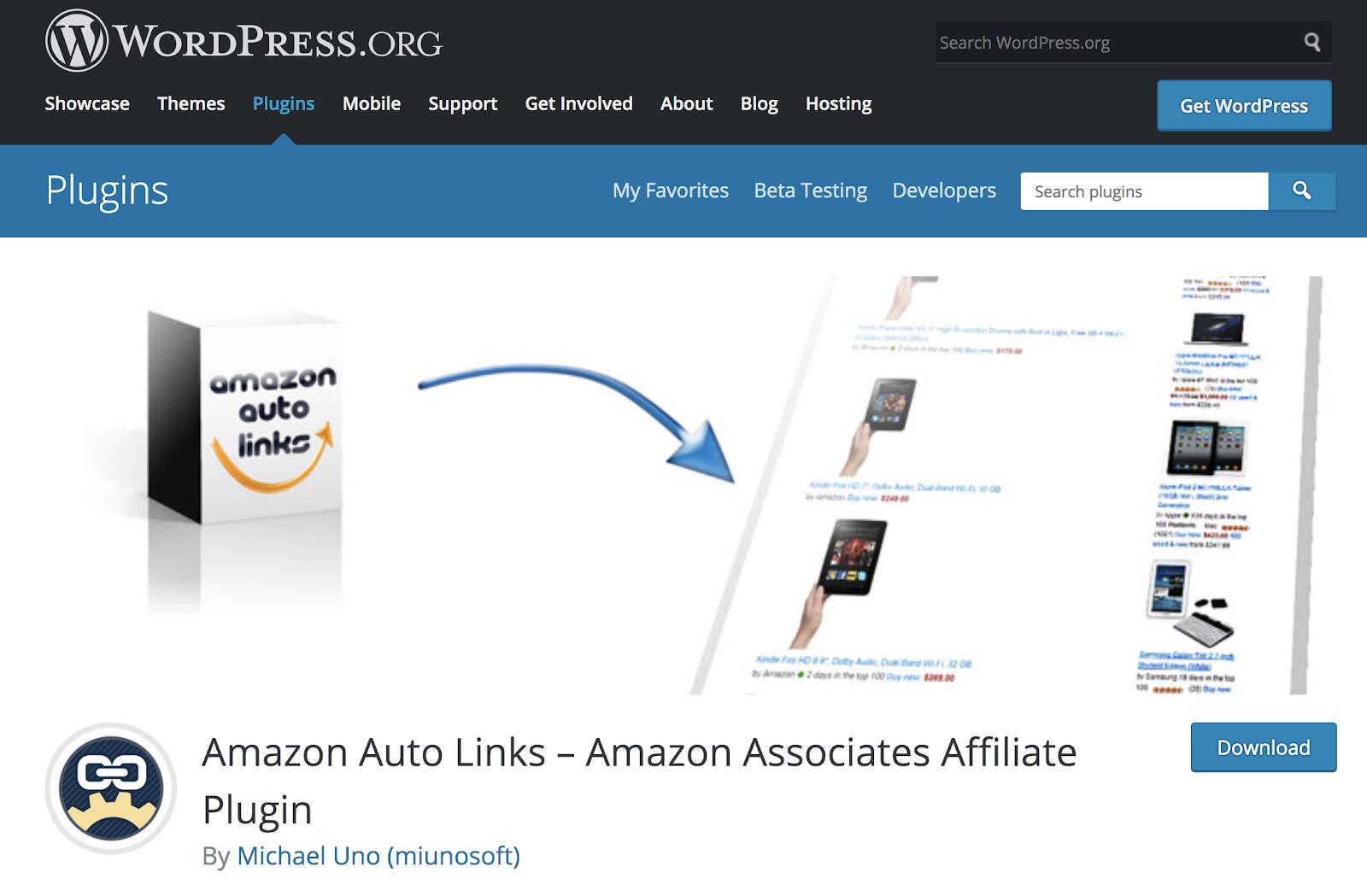 amazon auto links homepage screenshot