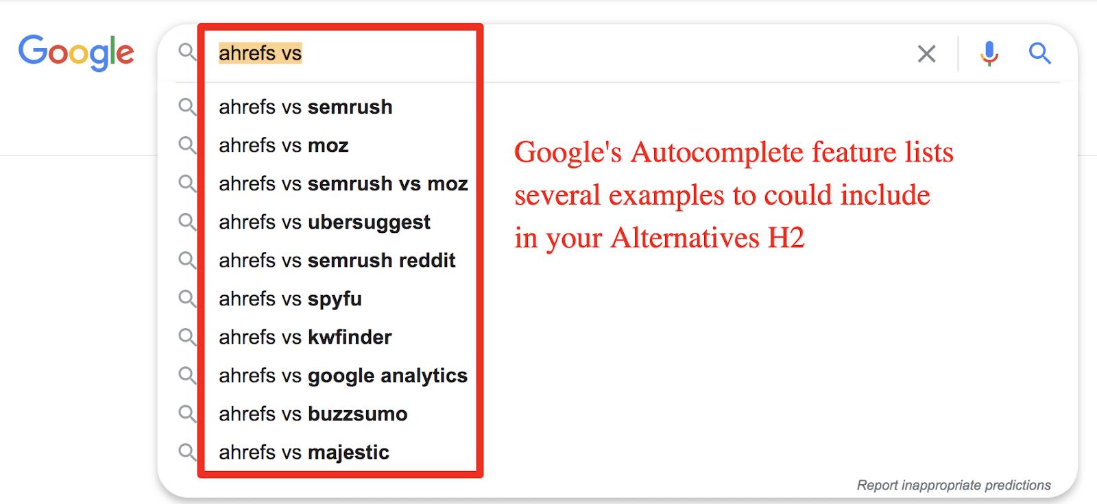 google autocomplete feature