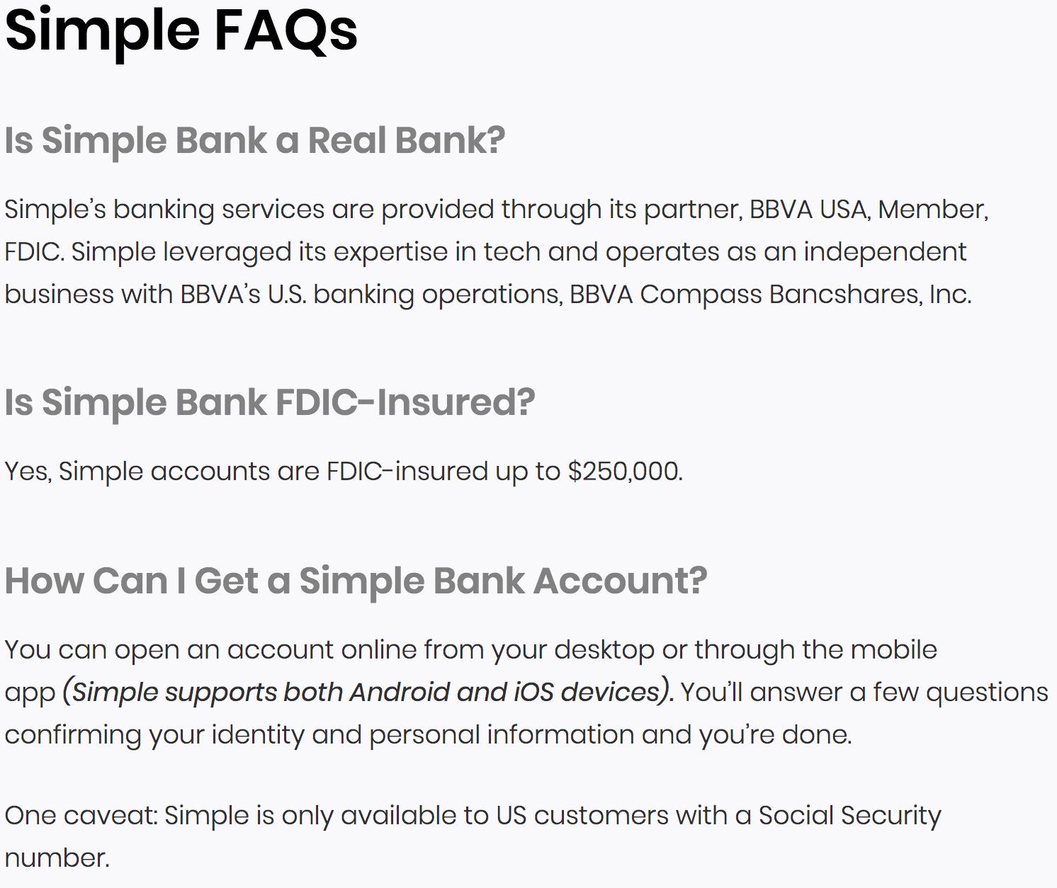 simple bank faq example