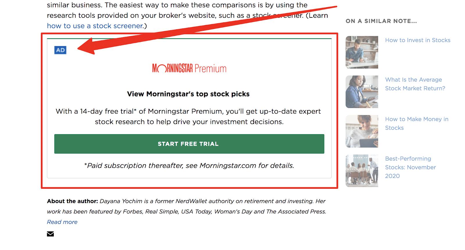 display ad example affiliate marketing traffic