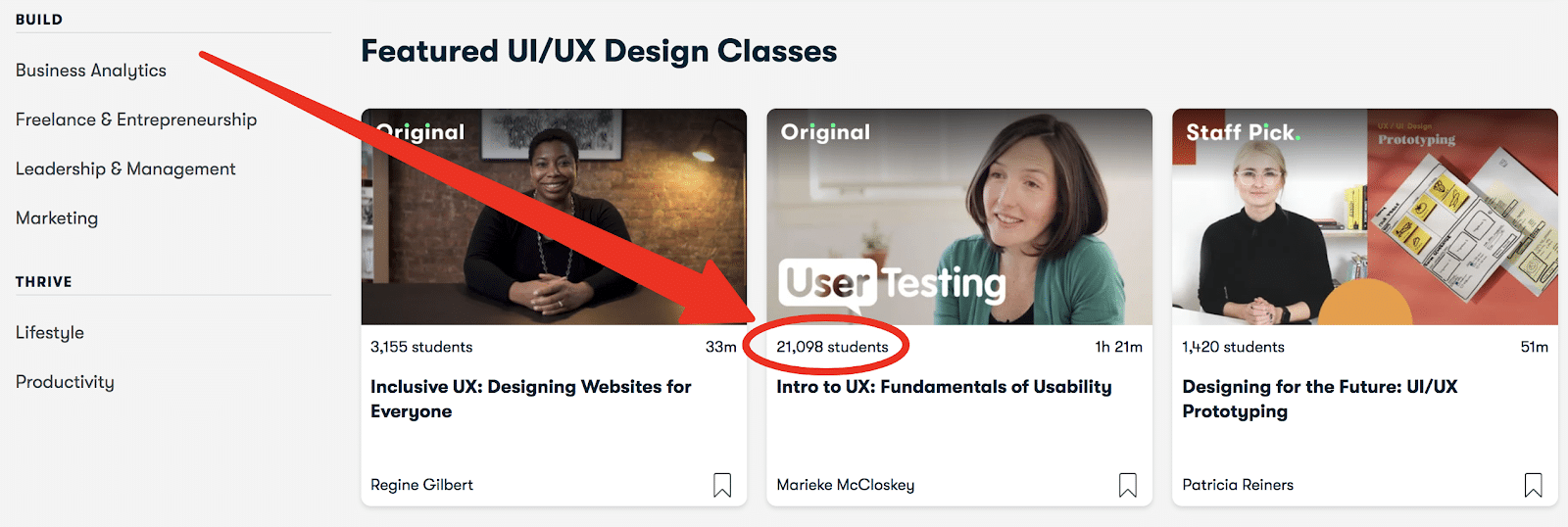a UI/UX course on udemy displaying 21,098 students have enrolled