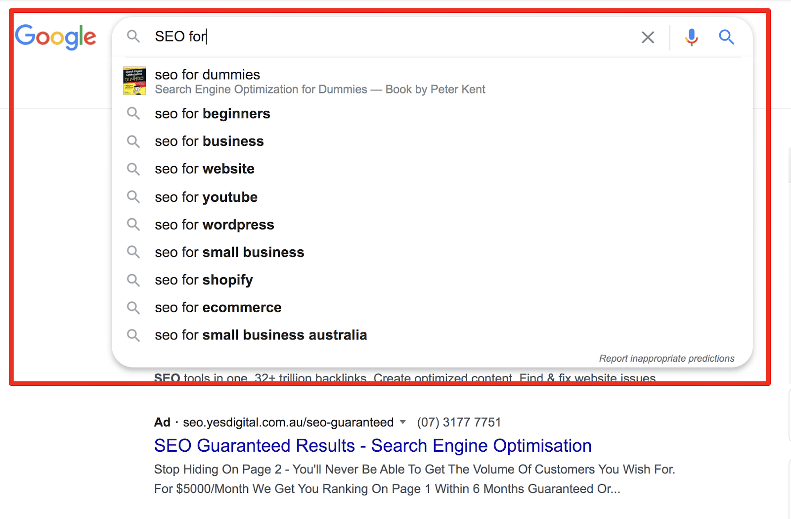 using google's autocomplete when typing seo for into the search bar