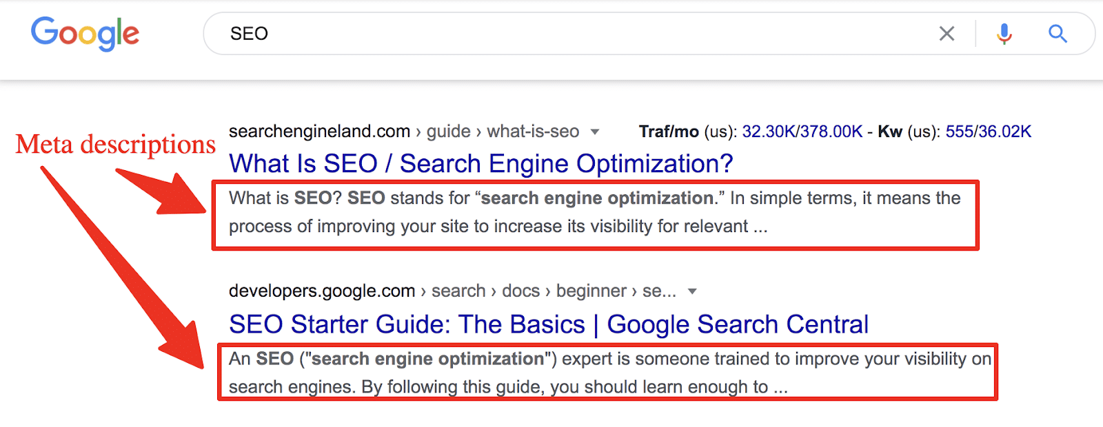 serp display of meta descriptions on page one