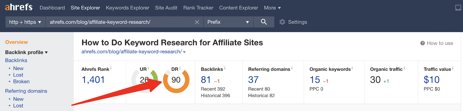 ahrefs displaying a website's authority from its dashboard