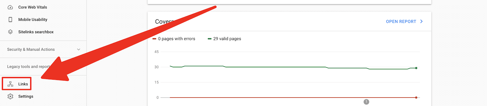 search console dashboard and where to click links to find linked to pages