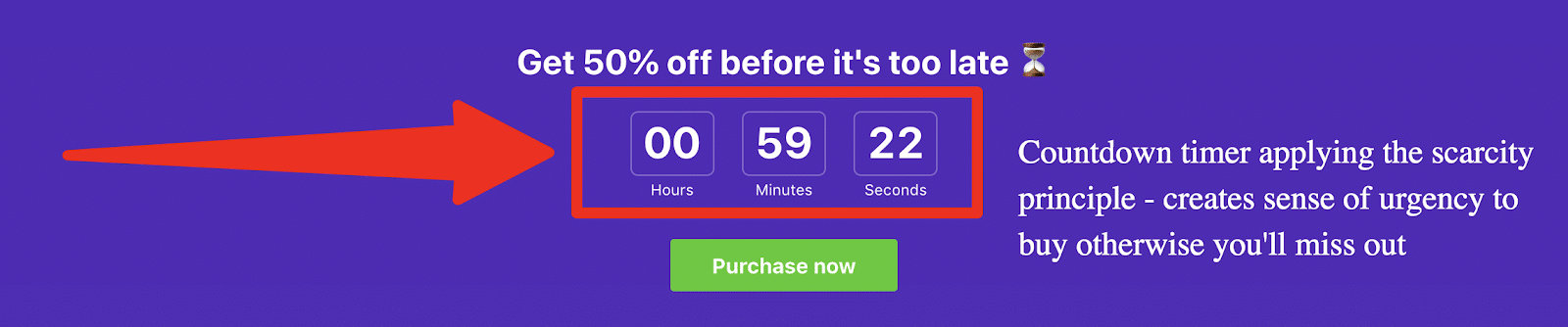 example of a countdown timer on a website to create a sense of urgency