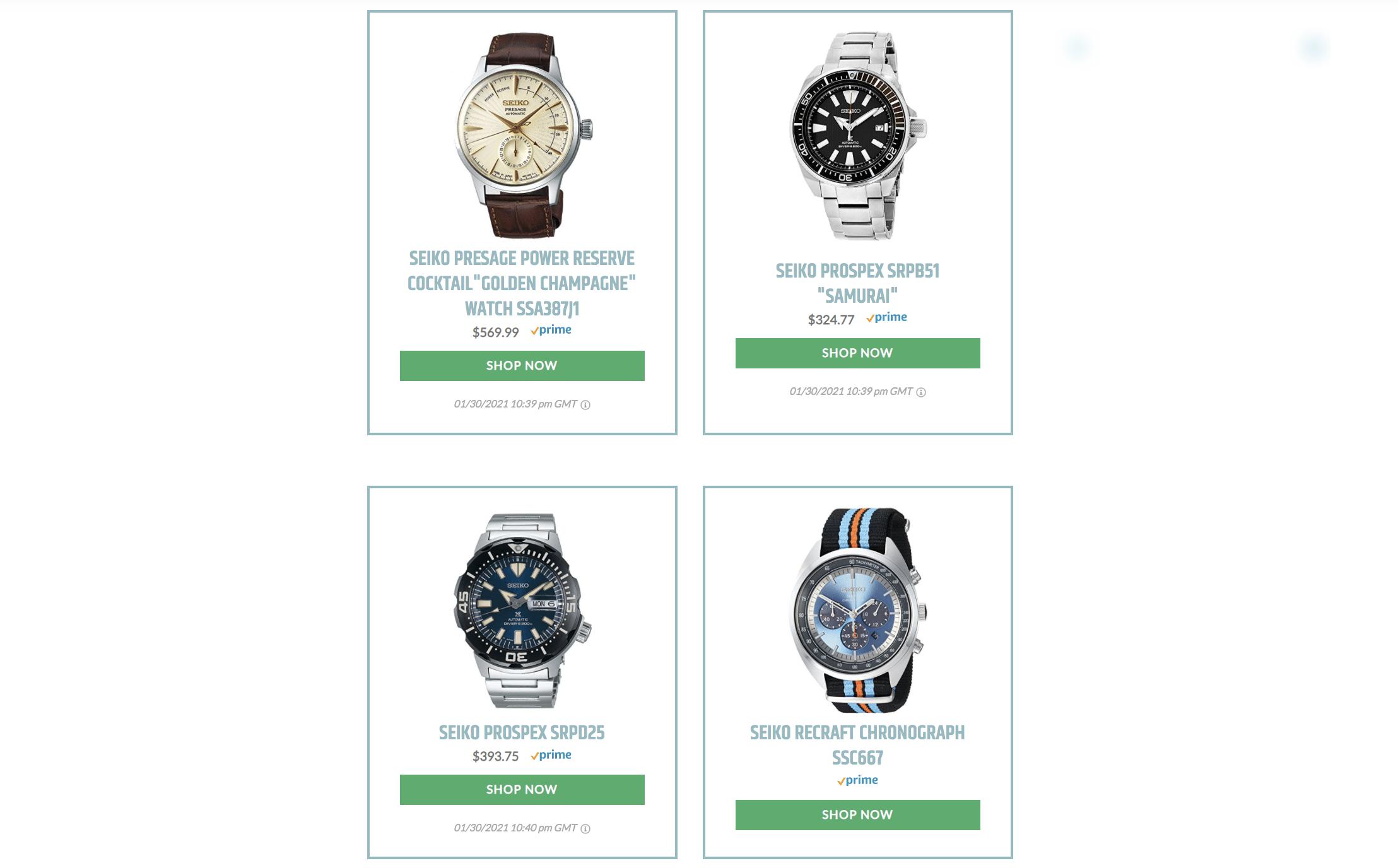 seiko grid watch display using lasso