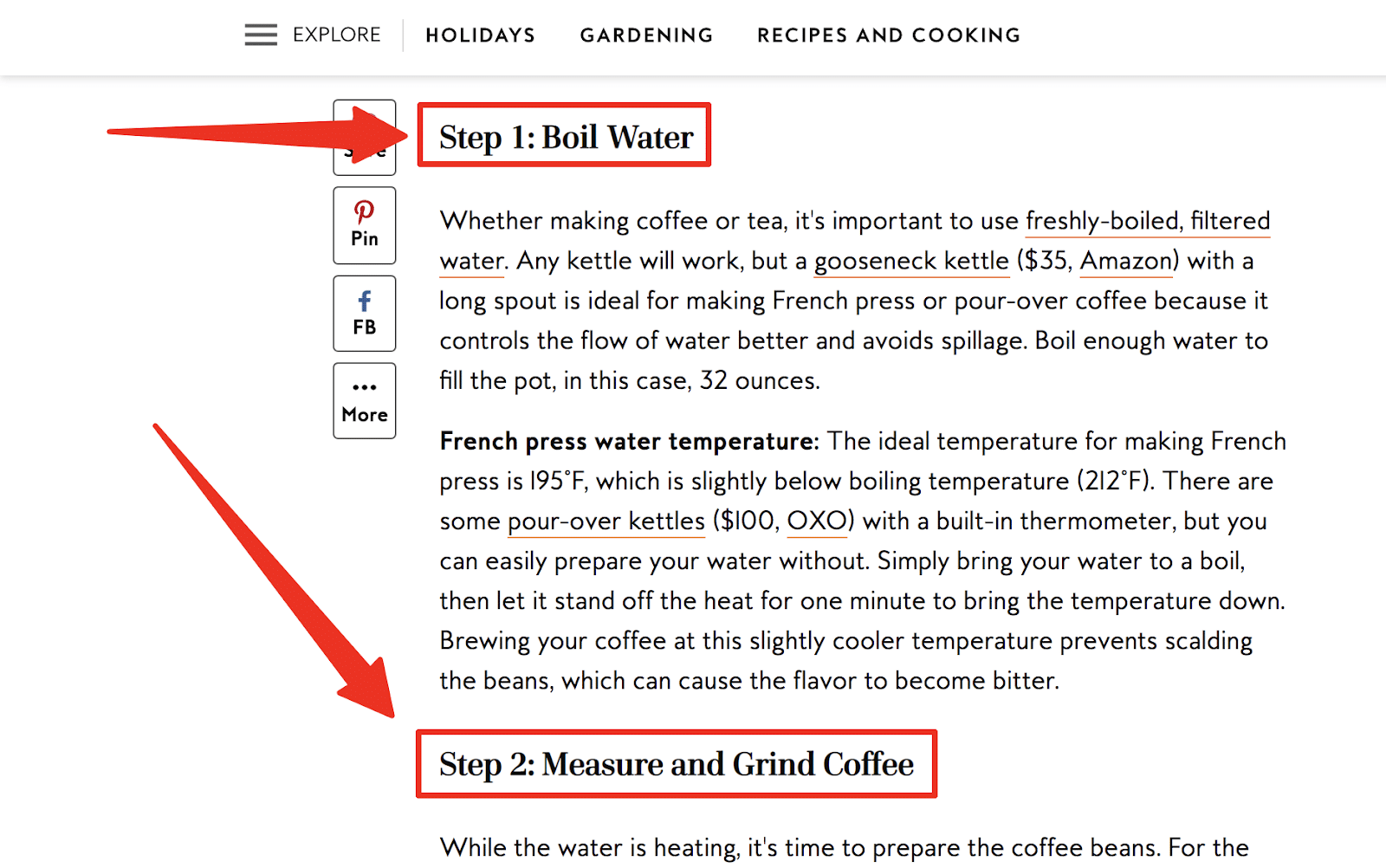 steps used as subheads in this how to make coffee with a french press post