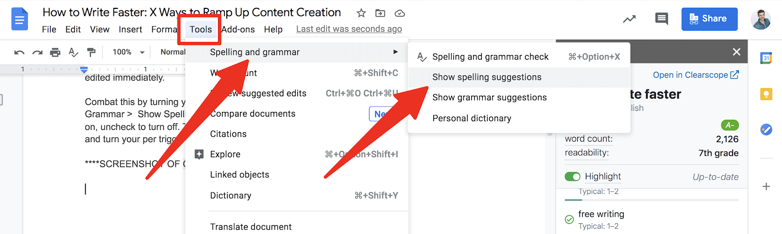 turning off spelling suggestions