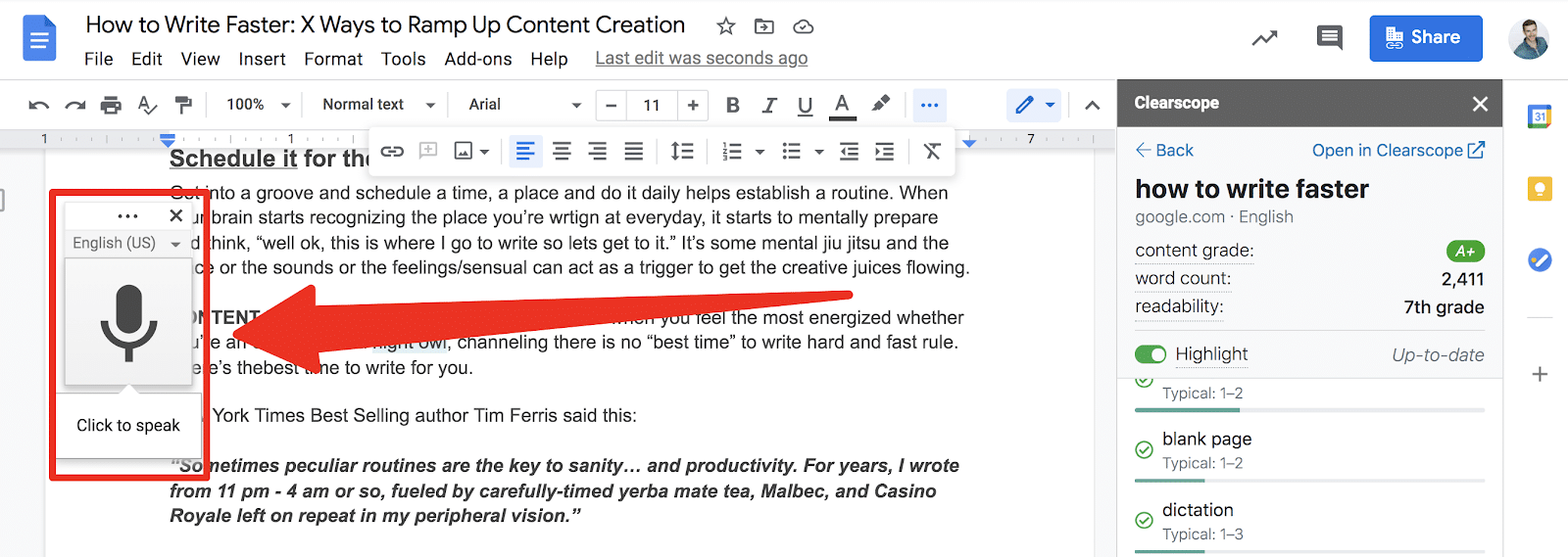 google doc voice typing how to write faster example