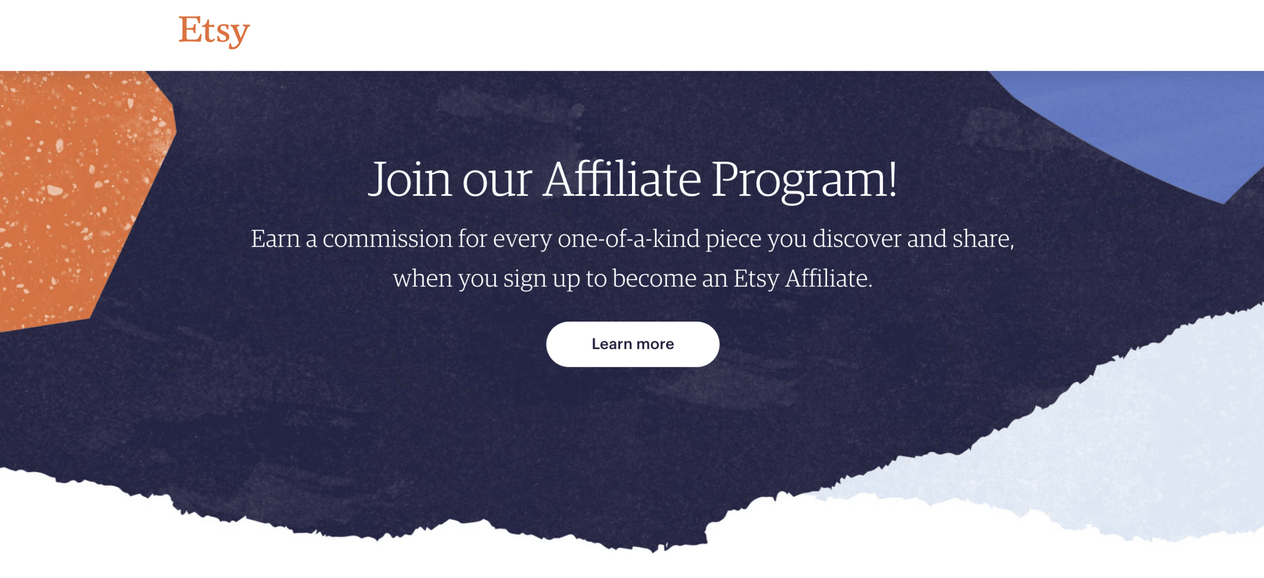 etsy affiliate program homepage