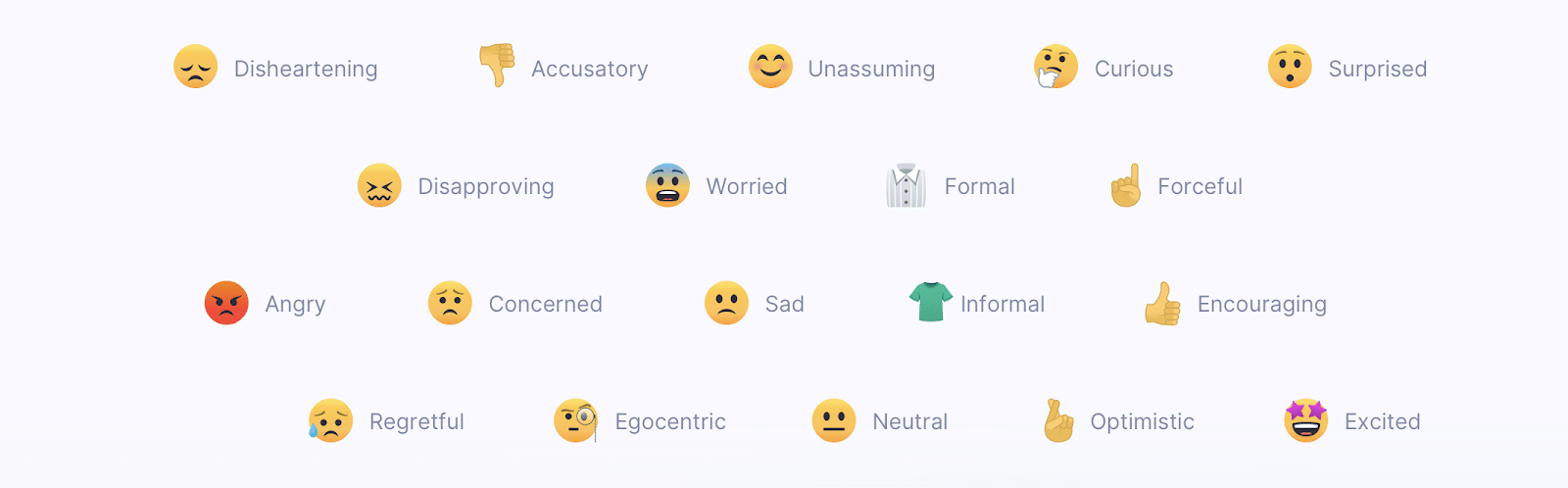 various emoji emotions for the kinds of tones it detects