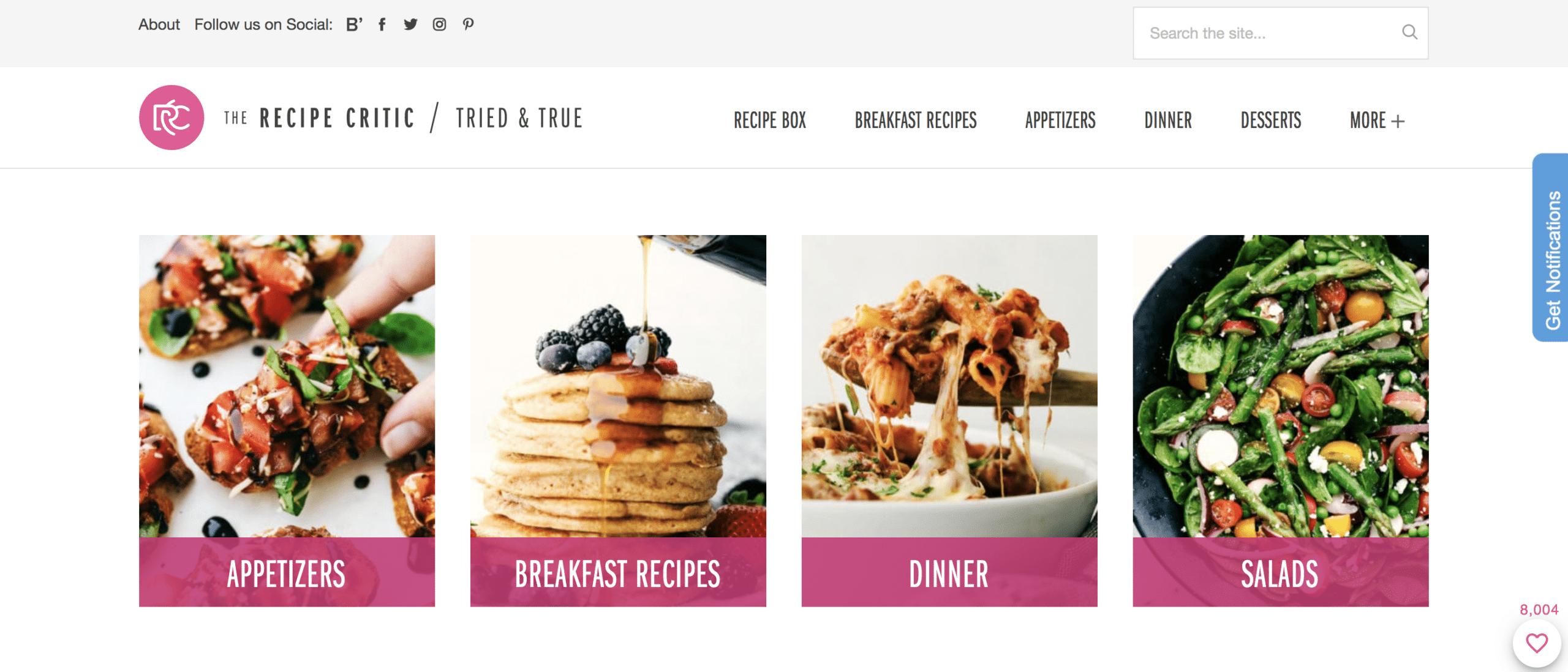the recipe critic website homepage