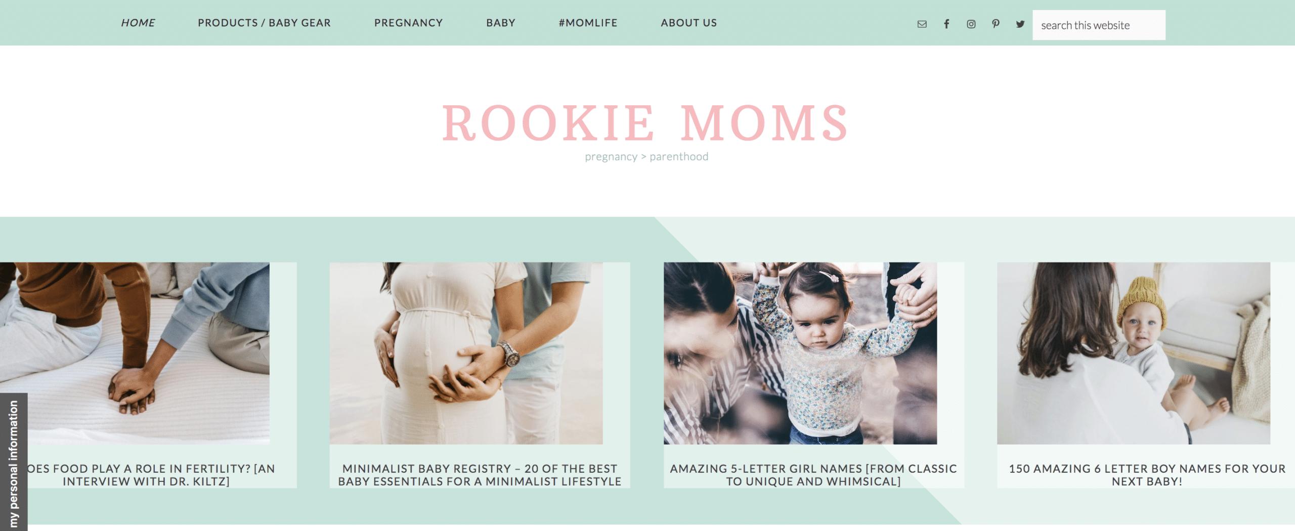 rookie moms website homepage