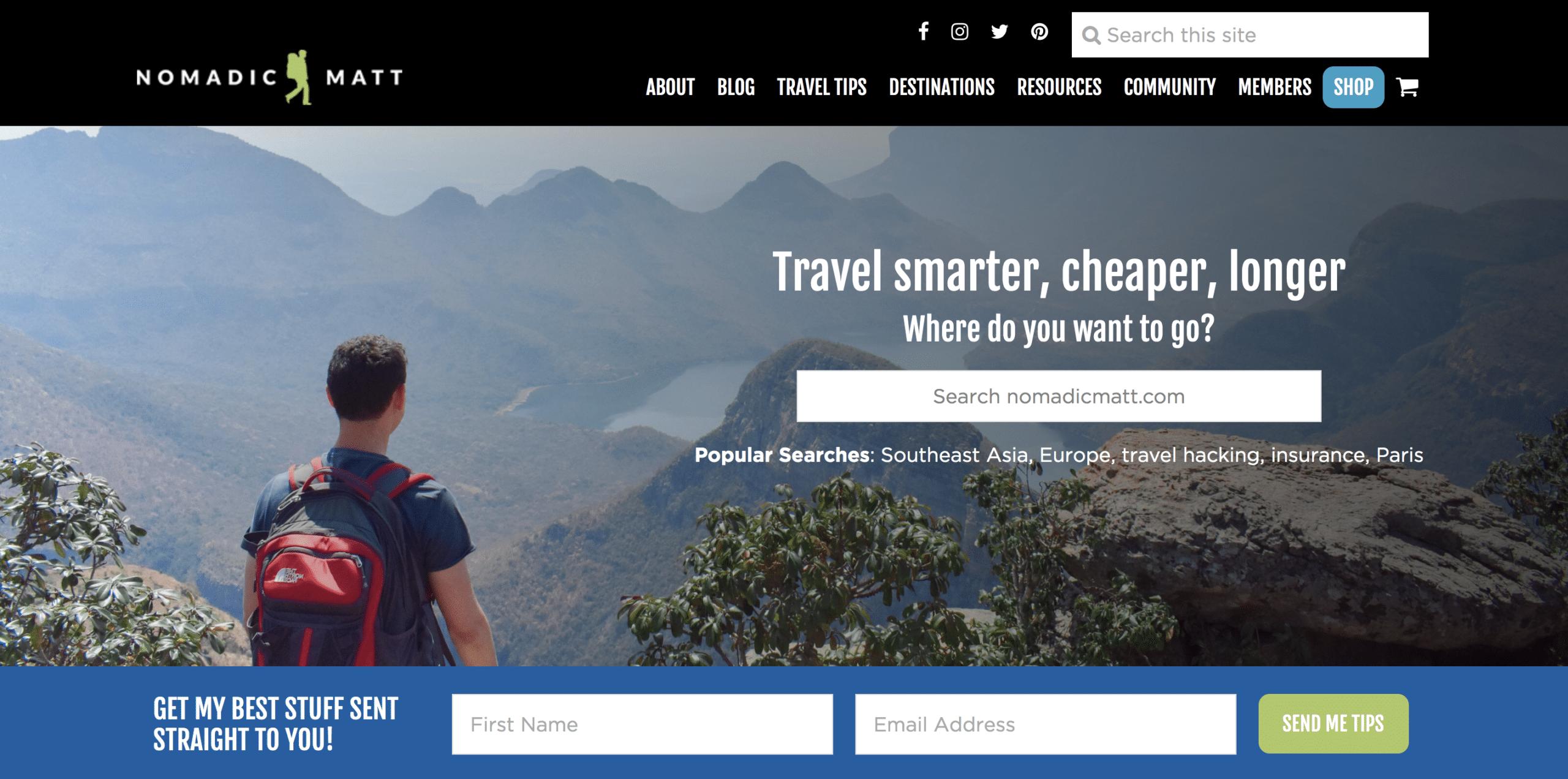 travel blog nomadic matt website homepage