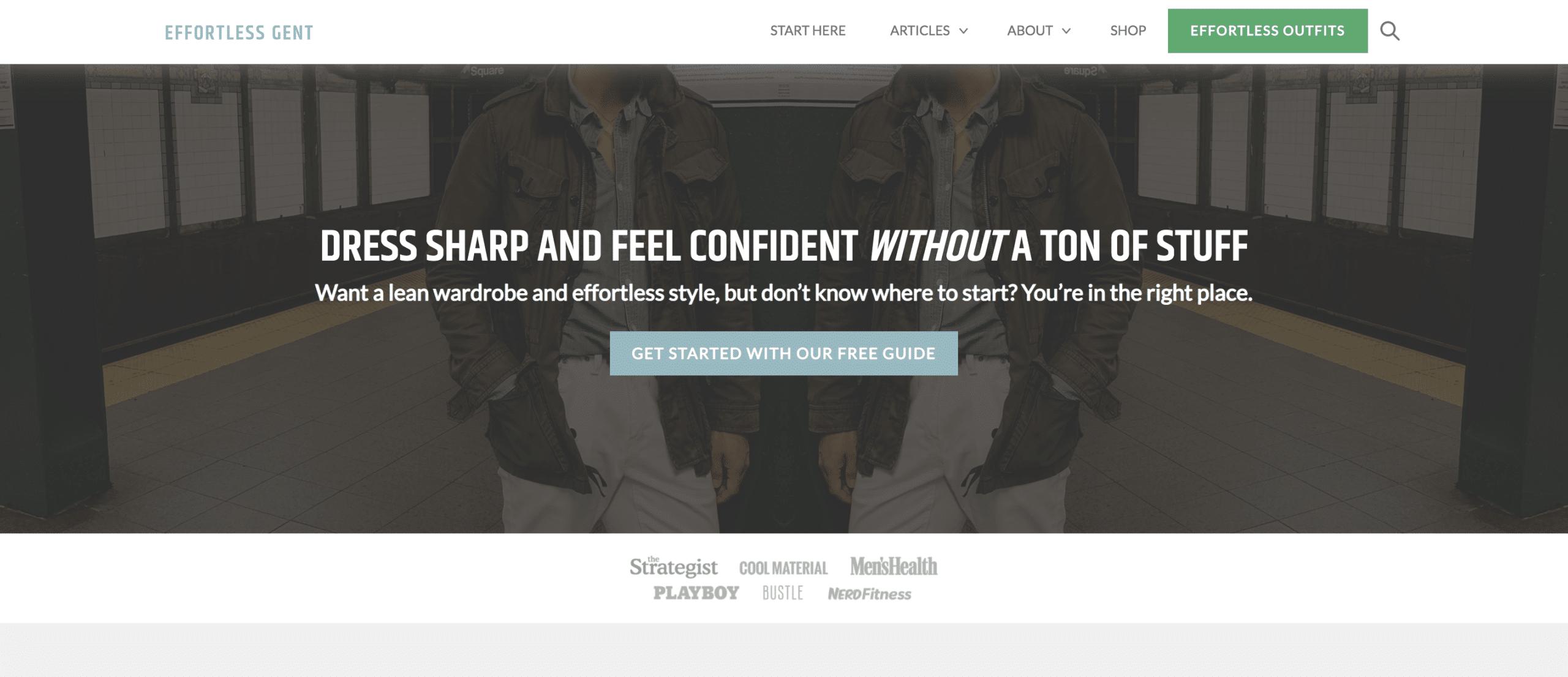 fashion blog effortless gent website homepage