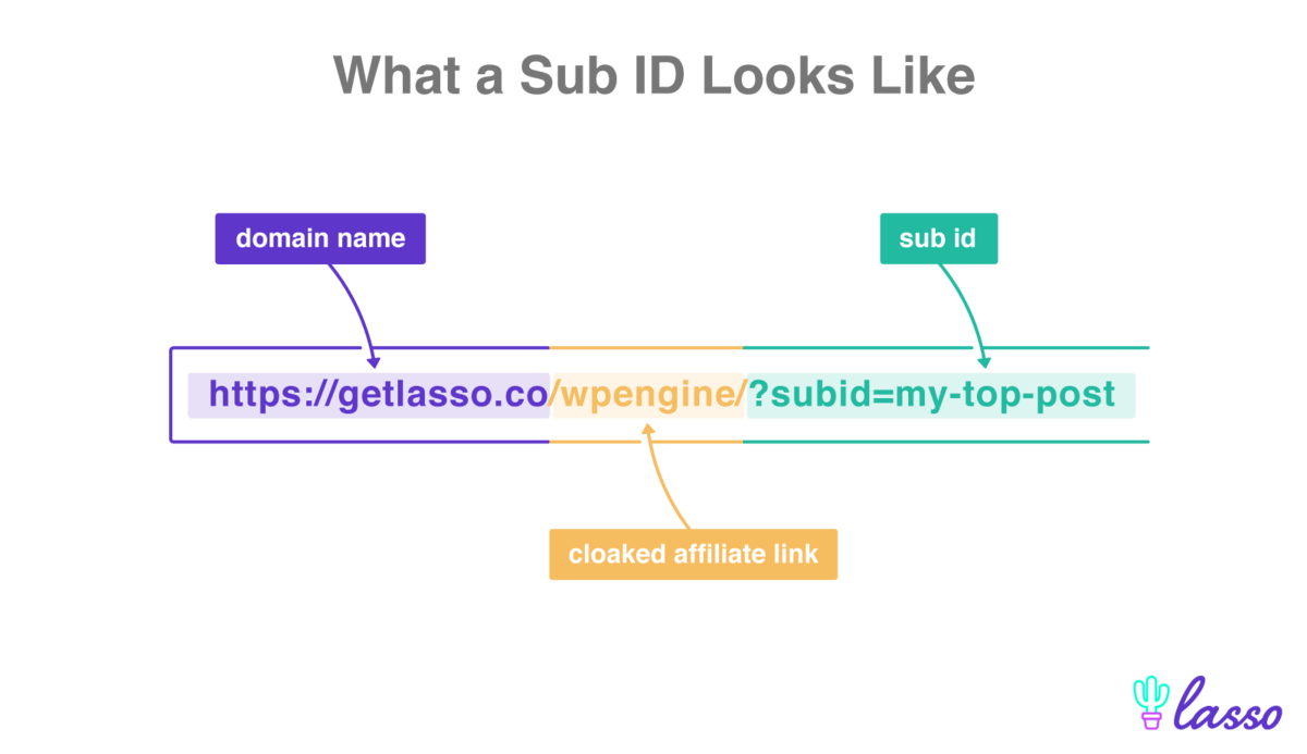 url labeled with domain, cloaked affiliate link,and subid
