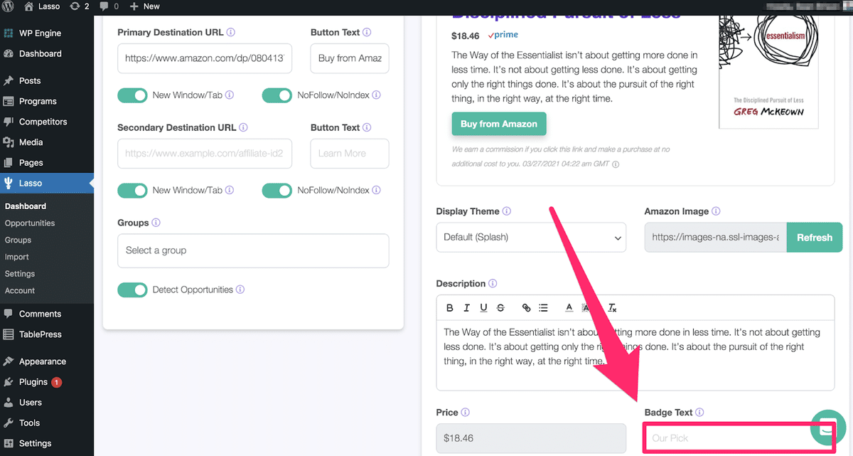 where to customize your badge text in the lower right corner of lasso product page